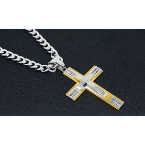 Cross Necklace 18K gold-plated Stainless Steel